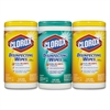 Clorox Disinfecting Wipes, 7 x 8, Fresh Scent/Citrus Blend, 75/Canister, 3/Pk