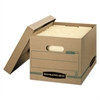 STOR/FILE Storage Box, Letter/Legal, Lift-off Lid, Kraft/Green, 12/Carton
