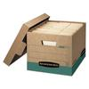 R-KIVE Storage Box, Letter/Legal, Locking Lift-off Lid, Kraft/Green, 12/Carton