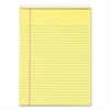 TOPS Docket Wirebound Ruled Pad w/Cover, 8 1/2 x 11 3/4, Canary, 70 Sheets