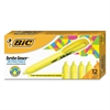 BIC Brite Liner Retractable Highlighter, Chisel Tip, Fluorescent Yellow, Dozen