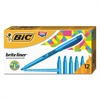 BIC Brite Liner Highlighter, Chisel Tip, Fluorescent Blue, Dozen