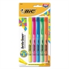 BIC Brite Liner Highlighter, Chisel Tip, Assorted Colors, 5/Set
