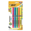 BIC Brite Liner Grip Pocket Highlighter, Chisel Tip, Assorted Colors, 5/Set