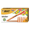 BIC Brite Liner Highlighter, Chisel Tip, Fluorescent Orange, Dozen