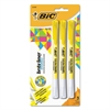 BIC Brite Liner Erasable Highlighter, Chisel Tip, Fluorescent Yellow, 3/Pack