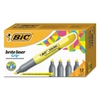 BIC Brite Liner Grip Highlighter, Chisel Tip, Fluorescent Yellow, Dozen