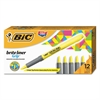 BIC Brite Liner Grip Pocket Highlighter, Chisel Tip, Fluorescent Yellow, Dozen