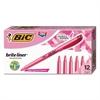 BIC Brite Liner Highlighter, Chisel Tip, Fluorescent Pink, Dozen