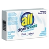 All Free Clear Vend Pack Dryer Sheets, Fragrance Free, 2 Sheets/Box, 100 Box/Carton