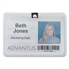 Advantus ID Badge Holder w/Clip, Horizontal, 4w x 3h, Clear, 50/Pack