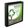 "Earth's Choice Biobased Round Ring View Binder, 1"" Cap, Black"