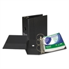 "Clean Touch Locking Round Ring Reference Binder, Antimicrobial, 5"" Cap, Black"