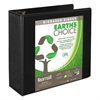 "Earth's Choice Biobased Round Ring View Binder, 4"" Cap, Black"