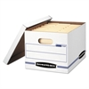 Bankers Box STOR/FILE Storage Box, Letter/Legal, Lift-off Lid, White/Blue, 4/Carton