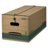 Bankers Box STOR/FILE Extra Strength Storage Box, Legal, String/Button, Kraft/Green, 12/CT
