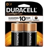Duracell CopperTop Alkaline Batteries with Duralock Power Preserve Technology, D, 2/Pk