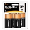 Duracell CopperTop Alkaline Batteries with Duralock Power Preserve Technology, D, 4/Pk
