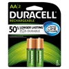 Duracell Rechargeable NiMH Batteries with Duralock Power Preserve Technology, AA, 2/Pk