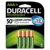 Duracell Rechargeable NiMH Batteries with Duralock Power Preserve Technology, AAA, 4/Pack