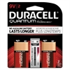 Duracell Quantum Alkaline Batteries with Duralock Power Preserve Tech, 9V, 2/Pk, 36PK/CT