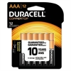 Duracell CopperTop Alkaline Batteries with Duralock Power Preserve Technology, AAA, 12/Pk
