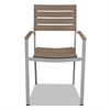 Tiki Stacking Arm Chair, 20w x 23d x 35h, Gray/Teak, 2/Carton