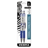 Zebra F-301 Retractable Ballpoint Pen, Blue In, Fine, 2/Pack