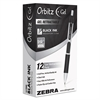 Zebra Orbitz Retractable Gel Pen, Medium, Black Ink, 0.7mm, Dozen