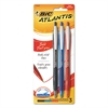 Atlantis Bold Retractable Ballpoint Pen, Bold 1.6mm, Assorted Ink/Barrel, 3/Pack