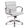 Neratoli Low-Back Slim Profile Chair, White Faux Leather, Chrome Frame