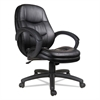 Alera Alera PF Series Mid-Back Leather Office Chair, Black Leather, Black Frame