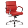 Neratoli Low-Back Slim Profile Chair, Red Soft Leather, Chrome Frame