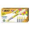BIC Brite Liner Flex Tip Highlighters, Brush Tip, Yellow, 1 dozen