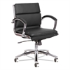 Alera Alera Neratoli Low-Back Slim Profile Chair, Black Soft Leather, Chrome Frame