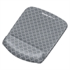 PlushTouch Mouse Pad with Wrist Rest, 7 1/4 x 9 3/8 x 1, Gray/White Lattice