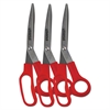 "Universal Stainless Steel Scissors, 7 3/4"" Length, 3"" Cut, Bent Handle, Red, 3/Pack"