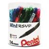 R.S.V.P. Mini Ballpoint Pen, 1 mm, Assorted Ink, 24/Pack