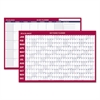 Horizontal Erasable Wall Planner, 36 x 24, White/Red, 2017