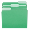 File Folders, 1/3 Cut One-Ply Tab, Letter, Green/Light Green, 100/Box