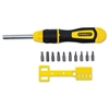 3 inch Multi-Bit Ratcheting Screwdriver, 10 Bits, Black/Yellow