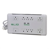 Slim Surge Protector, 10 Outlets/2 USB Charging Ports, 6 ft Cord, 2880 J, White