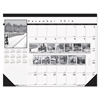 House of Doolittle Recycled Black-and-White Photo Monthly Desk Pad Calendar, 22 x 17, 2016-2017