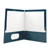Laminated Two-Pocket Folder, Cardboard Paper, Navy, 11 x 8 1/2, 25/Box