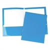 Universal Laminated Two-Pocket Folder, Cardboard Paper, Blue, 11 x 8 1/2, 25/Box