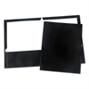 Laminated Two-Pocket Folder, Cardboard Paper, Black, 11 x 8 1/2, 25/Box