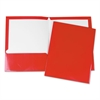 Laminated Two-Pocket Folder, Cardboard Paper, Red, 11 x 8 1/2, 25/Box