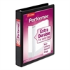 "Performer ClearVue Slant-D Ring Binder, 1"" Cap, 11 x 8 1/2, Black"