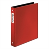 "Premier Easy Open Locking Round Ring Binder, 1"" Cap, 11 x 8 1/2, Red"