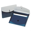 Four-Pocket Slide File Wallet, Letter, Polypropylene, Blue/Silver